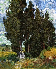 Cypresses with Two Women, Vincent van Gogh, 1890